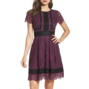 Eliza J Lace Fit & Flare Dress RAISIN Size 12P